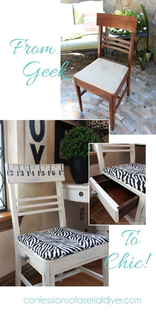 Recycled Sewing Chair with a Secret Compartment