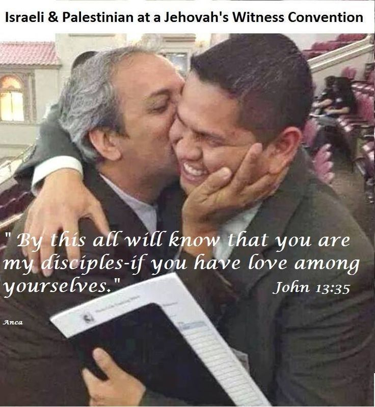 An Israeli & Palestinian at a Jehovah's witness convention. Our brotherhood is of every nation! <3