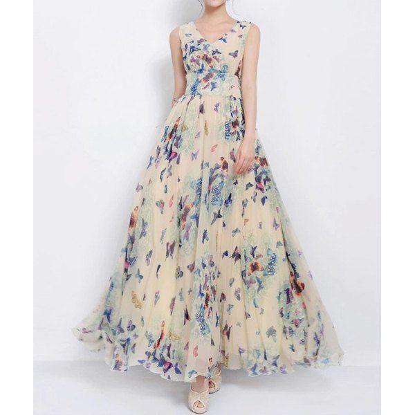 Women's Graceful Full Butterfly Print High Waist Lace Up Sleeveless Chiffon Dress, AS THE PICTURE, XL in Chiffon Dresses | DressLily.com