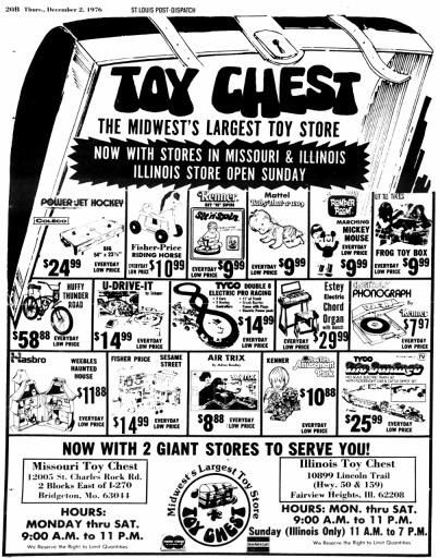 Toy Chest The Midwests Largest Toy Store Dec 2 1976 New