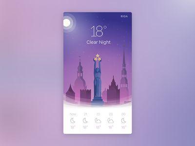 Night weather app widget