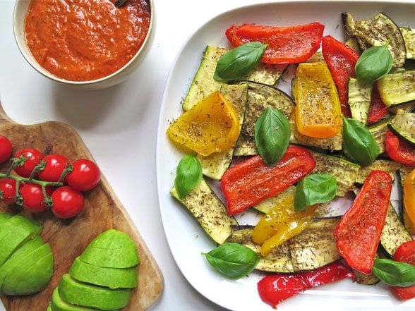 Roasted Mediterranean Vegetables with Fresh Tomato Basil Pesto
