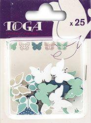 Confettis en bois – Papillons Bleu & Taupe