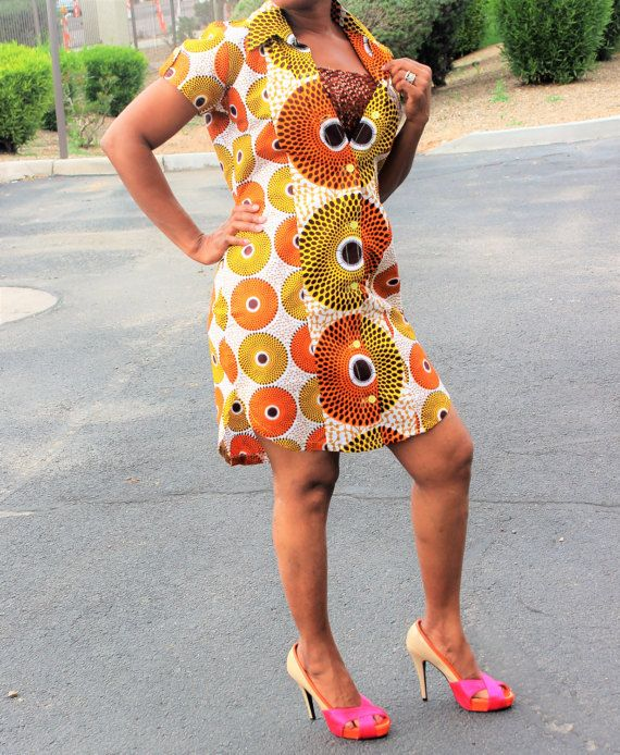 Midi African print dress Ankara print dress tela by Africshop