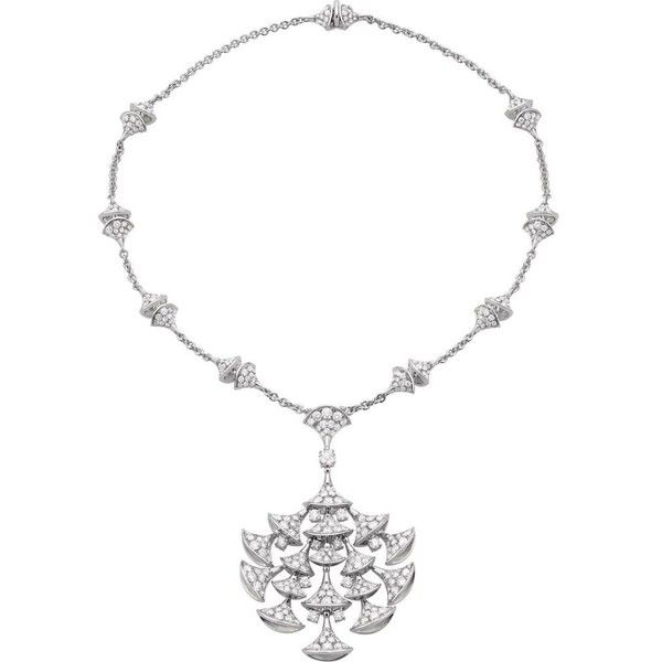 BVLGARI Diva 18ct white-gold and diamond necklace ($79,075) ❤ liked on Polyvore featuring jewelry, necklaces, bulgari jewellery, white gold chain necklace, bulgari, white gold diamond necklace and diamond chain necklace