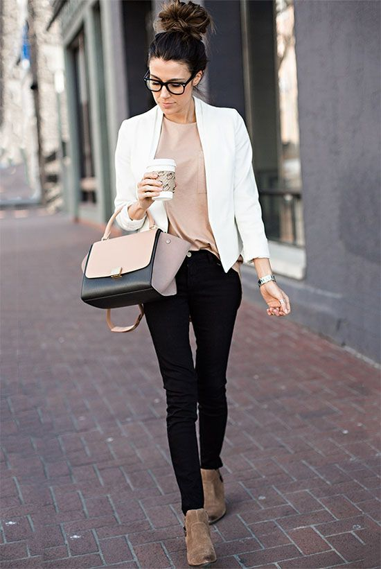 spring / summer - fall / winter - street style - street chic style - spring outfits - fall outfits - casual outfits - valentine's day outfits - white blazer + nude t-shirt + black skinny jeans + brown booties + neutral toned handbag