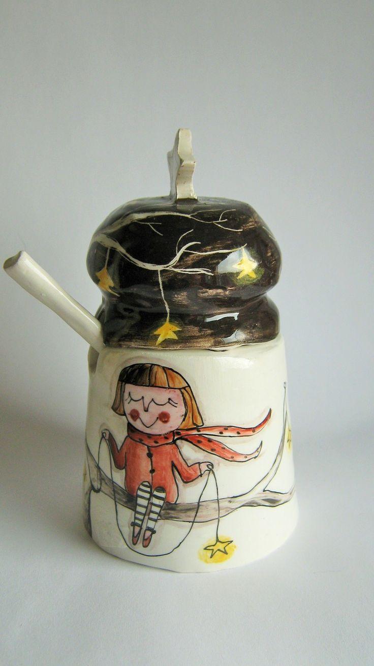 Zuccheriera in ceramica con stelle ed alberi : Accessori casa di eva-e-tabu
