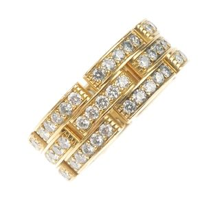 An 18ct gold diamond band ring by cartier
