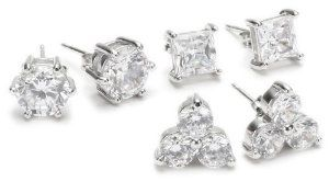 Sterling Silver Cubic Zirconia Multi-Shape Set of Three Stud Earrings Amazon Curated Collection. $29.00