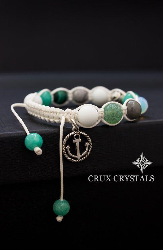 Anchor Charm Women's Shamballa Charm Bracelet Wrap by CruxCrystals