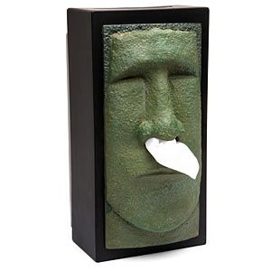 Moai head tissue dispenser if you have a bad cold or allergies with a runny nose you might - Nose tissue dispenser ...