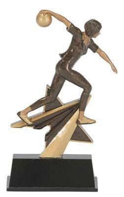 "Female Bowling Trophy - 7"" Star Resin"