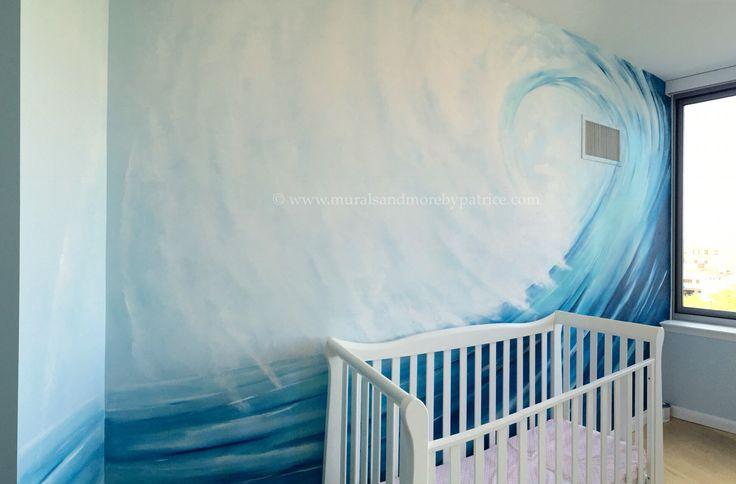 Surfer boy nursery mural by #muralsandmorebypatrice #surfing #nursery #kidsroom #NYC