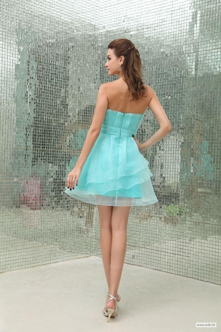 garden wedding Strapless Multilayer Skirt Full A-Line Organza Bridesmaid Dress $108.98
