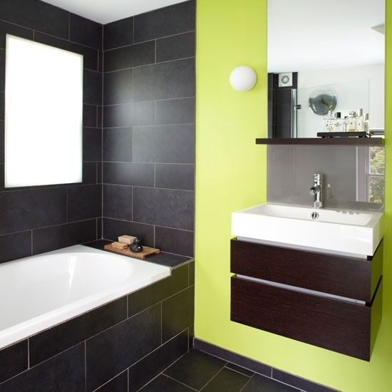 Fresh modern bathroom with green statement wall | colourful bathroom ideas | bathroom ideas | PHOTO GALLERY | Housetohome.co.uk