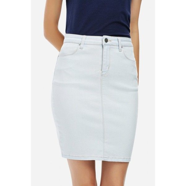 ZANSTYLE Women Knee Length Light Blue Pencil Skirt ($14) ❤ liked on Polyvore featuring skirts, knee length pencil skirt, light blue skirts, pencil skirt, light blue pencil skirt and knee high skirts