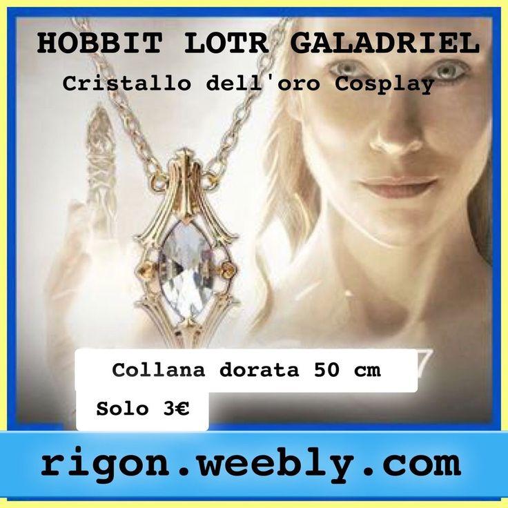 COLLANA HOBBIT LOTR GALADRIEL FIALA COSPLAY CRISTALLO DELL ORO DORATA 50 Cm 3€