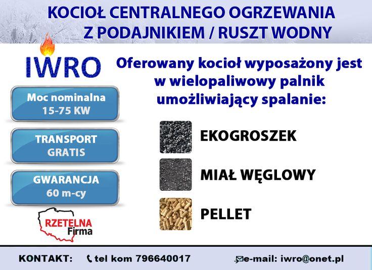 🔵Kocioł centralnego ogrzewania z podajnikiem automatycznym wielopaliwowym  🔵Oferowany kocioł wyposażony jest w wielopaliwowy palnik umożliwiający spalanie oprócz eko-groszku również miał węglowy oraz pellety.  ▶Zapraszamy na nasze pozostałe aukcje allegro: http://allegro.pl/listing/user/listing.php?us_id=17206055   🔷 KONTAKT:  📞tel kom 796640017 📨e-mail: iwro@onet.pl  #KOCIOŁ #KOTŁY #PIECE #DOM #CENTRALNE #OGRZEWANIE #OPAŁ #MIAŁ #PELLET #EKOGROSZEK #PALNIK #IWRO