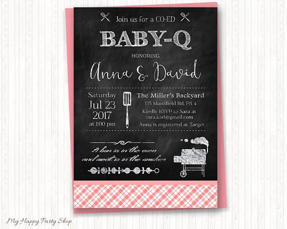 Girl BBQ Baby Shower Invitation, Pink Baby Q Shower, Chalkboard Baby Q Invitation, Smoker BBQ Party, Joint Baby Shower, PRINTABLE - BSU020P