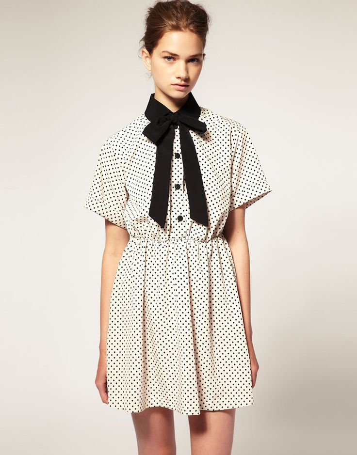 asos pussy bow dress w/ black spot collar