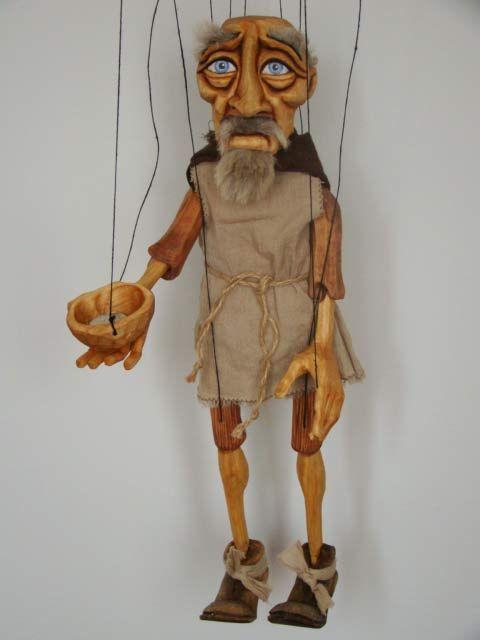 Beggar , marionette puppet    www.marionettes-puppets.com