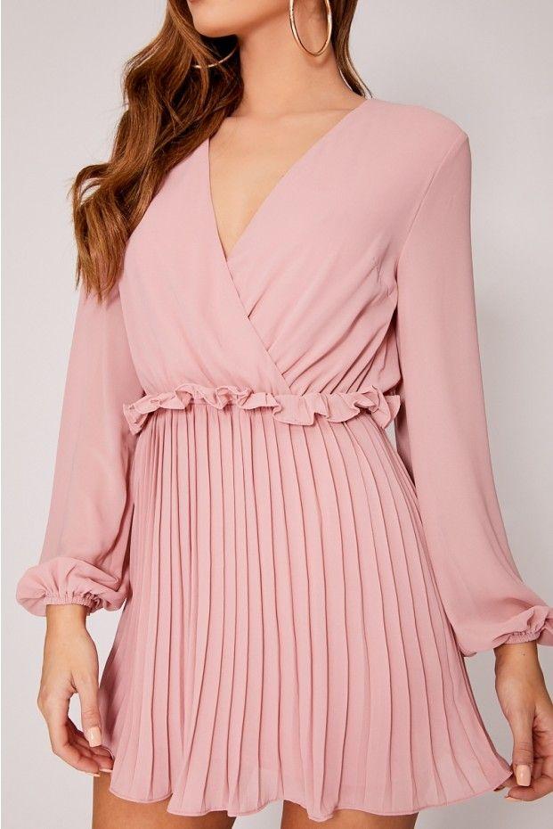 de0e881ab5e8b Dani dyer dusty pink balloon sleeve pleated mini dress | clothes ...