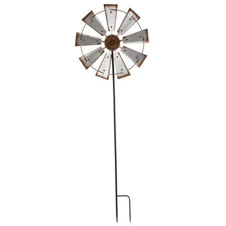 Glitzhome Rustic 68 5 H Farmhouse Metal Wind Spinner Wall Decor Windmill Garden Yard Stake Walmart Com Windmill Wall Decor Metal Windmill Wind Spinners