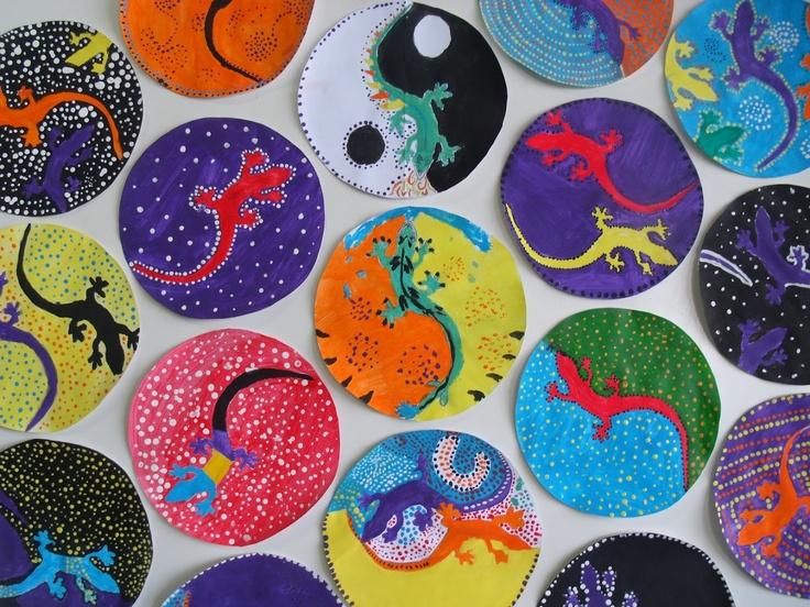 ying/yang lizards in austrialian dot-art style. from Sala de Arte