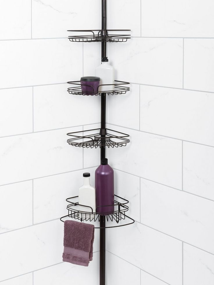 Bathroom, Wrought Iron Tension Pole Corner Shower Caddy Design Black Metal Open Rack With 4 Triangle Shelves Purple Glass Soap Container Purple Cotton Towel White Ceramics Subway Wall White Plastic Soap Dispens: Modern Tension Pole Corner Shower Caddy