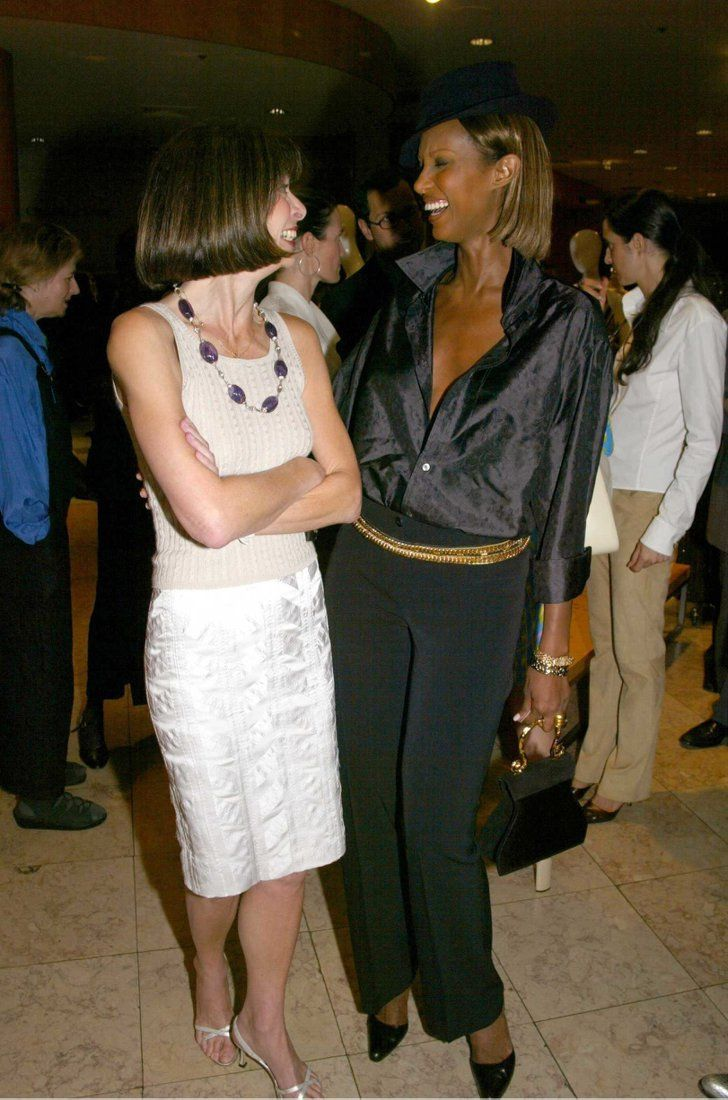 Pin for Later: Happy Birthday, Anna Wintour! A Smiling Shot For Every One of Her 65 Years 2002: Saks and Vogue Honor New Yorkers For Children Anna Wintour, Iman