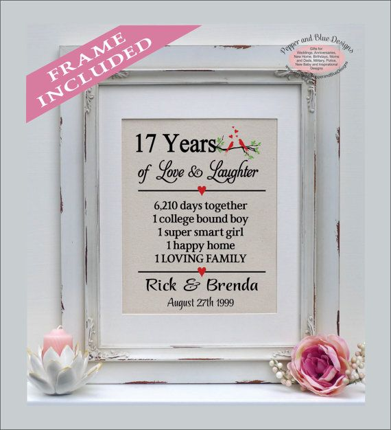 17th wedding anniversary gifts 17 years by PepperandBlueDesigns