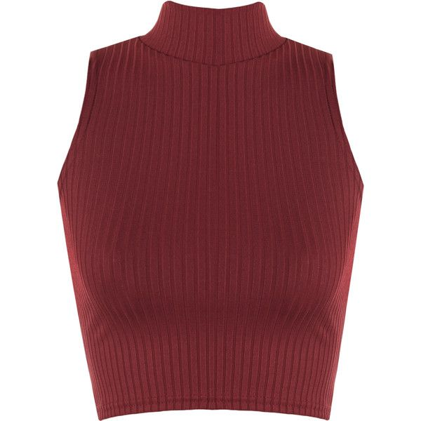 Luann Rib Turtle Neck Crop Top (£9) ❤ liked on Polyvore featuring tops, sweaters, crop top, wine, red crop top, sleeveless turtleneck, red turtleneck sweater, ribbed turtleneck and ribbed sweater
