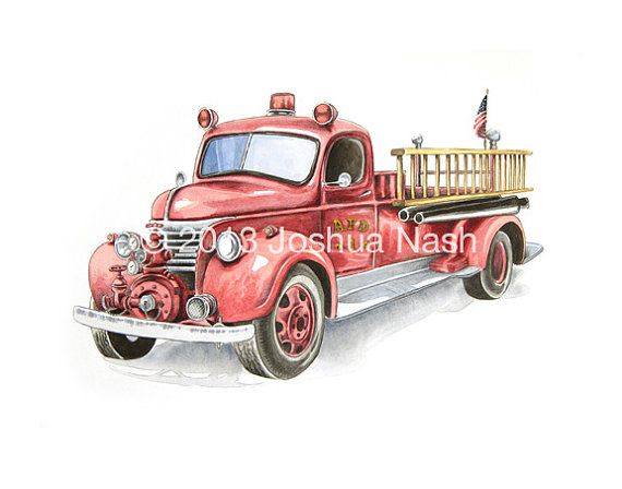 Vintage Firetruck 11 x 14 Open Edition Print by NashIllustrations, $45.00