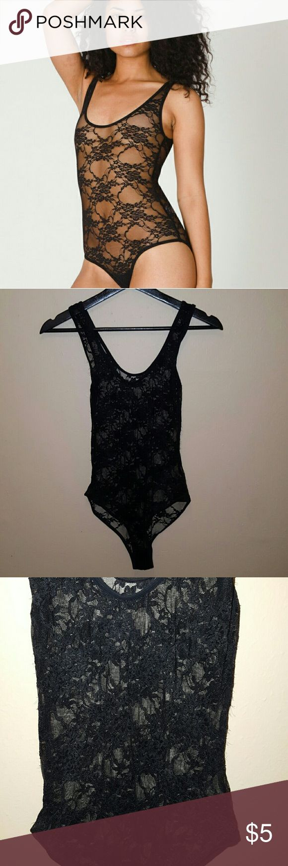 American Apparel Black Lace Bodysuit American Apparel black lace bodysuit in size small. This is definitely has some signs of wear, but it's still got some life left in it!! There is some fraying and loose strings in the lace shown in the photos. The tag was clipped because it shows through the lace. Since American Apparel has stopped making clothes, I'm selling cheap in case anyone wants a last chance at this piece. American Apparel Tops