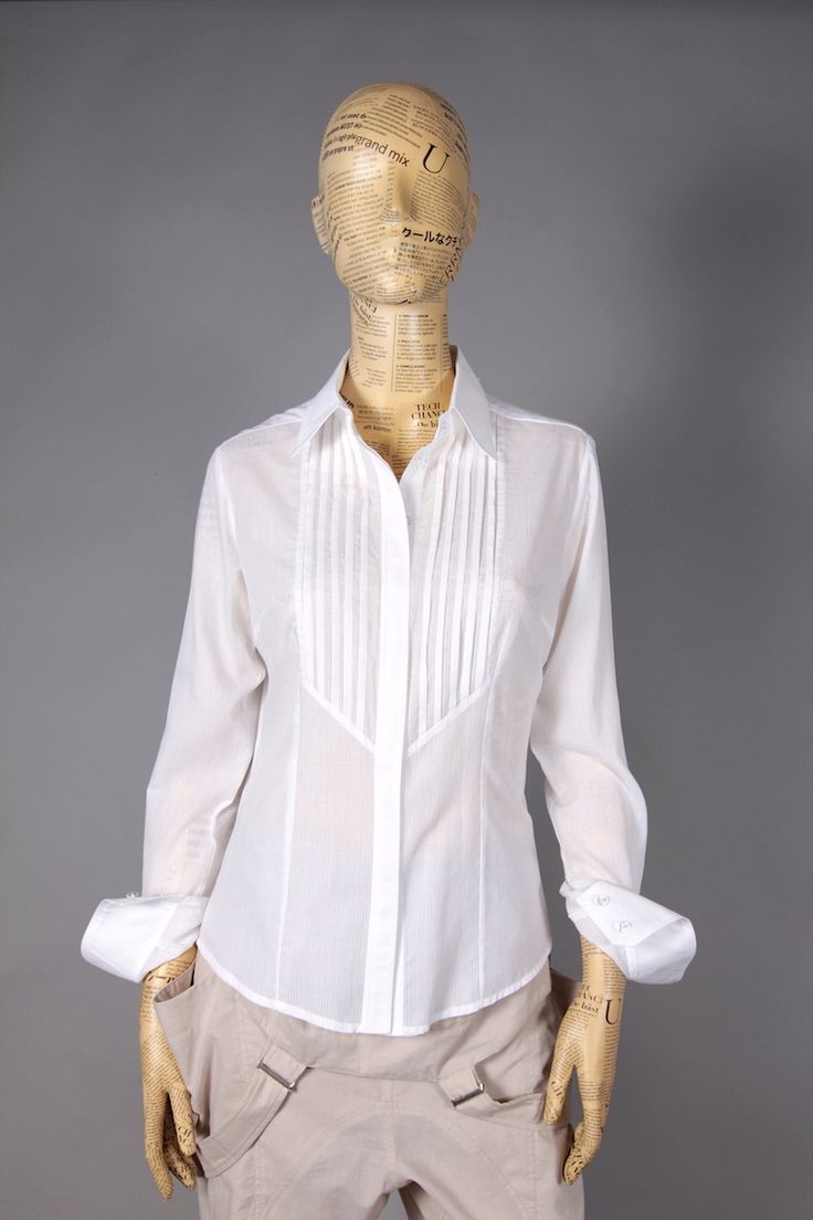 WHITE SLIM SHIRT WITH FRILLS ON CHEST [MBA43] - 47.60EURO : www.madebyartist.ro - shop, www.madebyartist.ro - shop