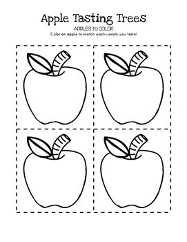 Apples to Color FREEBIE!!! Apple Tasting Tree Science Center Activity!  Visit https://littlelearninglane.com/2016/08/29/apple-tasting-trees/ to see this in action!