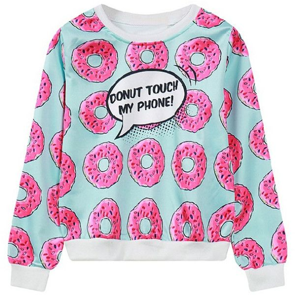 Light Blue Yummy Donuts And Letter Print Sweatshirt (560 UAH) ❤ liked on Polyvore featuring tops, hoodies, sweatshirts, pattern tops, sweat tops, sweatshirt hoodies, patterned sweatshirts and print top