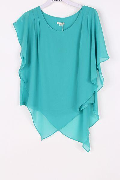 Aubrey Layered Chiffon Tunic in Teal Turquoise - Emma Stine - Buscar con Google