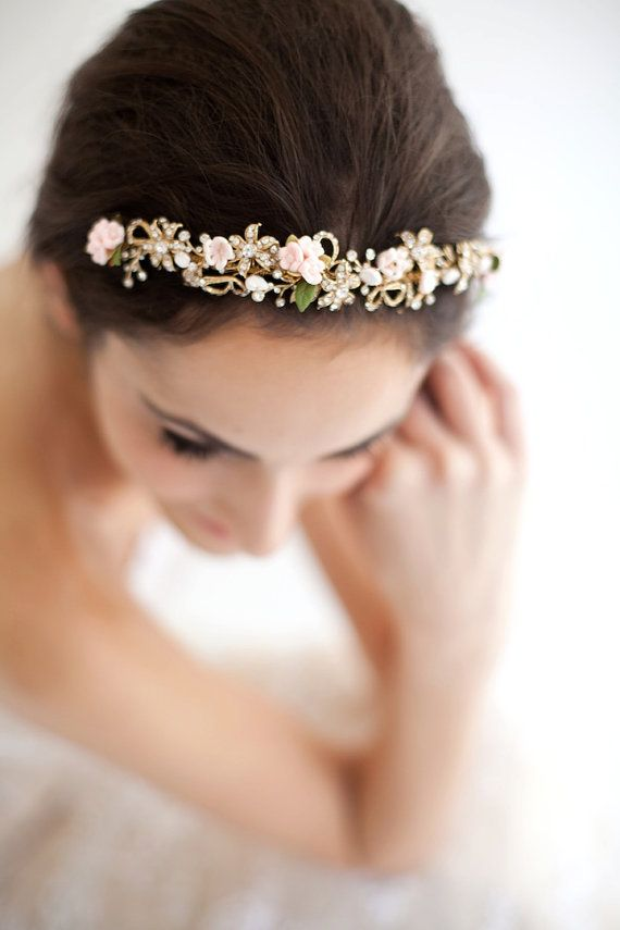 Blush Gold Rhinestone Tiara Available in Tones of Pink  Gold (pictured) and Ivory and Gold, Style 610