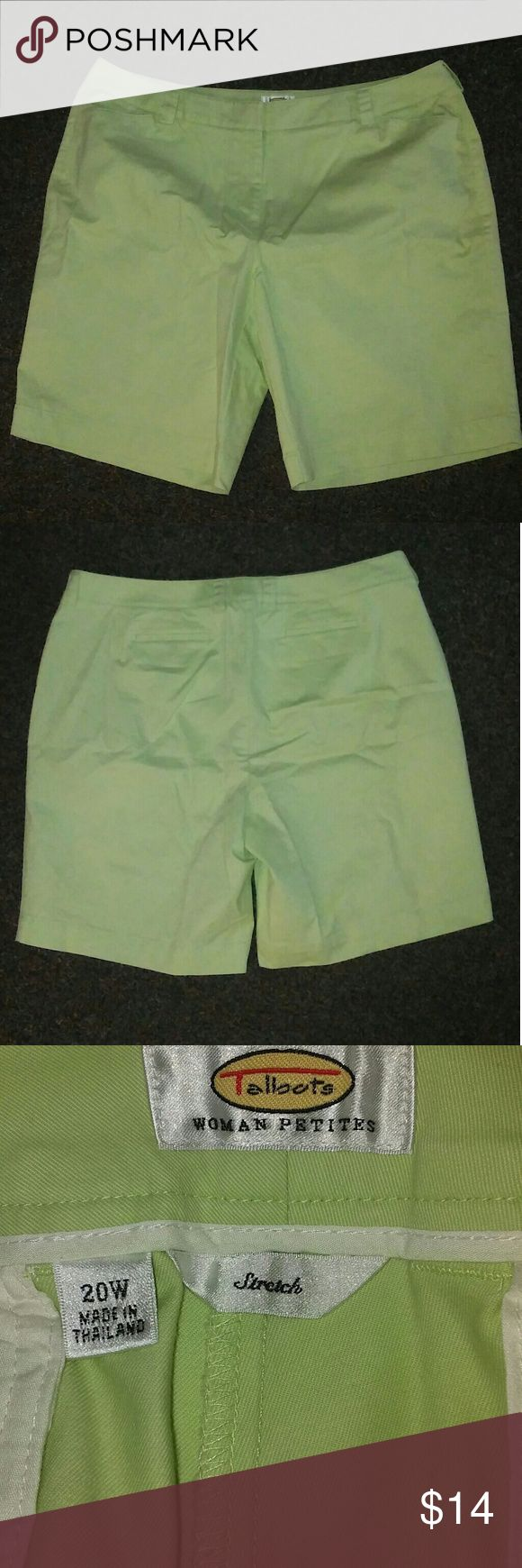 Talbots Shorts-Womans Petites In very good used condition no blemishes that i noticed. Inseam 10 inches. Rise is almost 12 inches. Size is 20 womans petite 98% cotton 2% spandex. Color is a light mint green. First 2 photos are pretty close to actual color Talbots Shorts Bermudas