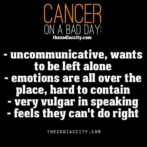 """Zodiac Cancer on a bad day. """"very vulgar in speaking"""" HAHAHAHA that is soooooo true"""