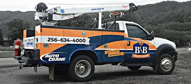 Work truck wrap for B&B Truck Crane located in Mentone, Alabama. #vehiclewrap #wrap #graphicdesign #worktruck