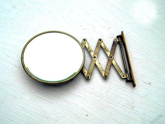 Vintage Expandable Shaving Mirror, Vintage Bathroom Decor, Vintage Industrial Decor, Beveled Mirror