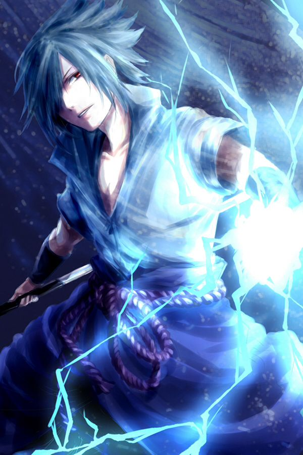 Sasuke using Chidori.  Check out my Naruto fanfiction story The Man That Disappeared: https://www.fanfiction.net/s/9928492/1/The-Man-That-Disappeared