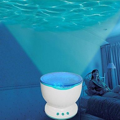 [Visit to Buy] Led Night Light Projector Ocean Blue Sea Waves Projection Lamp with Speaker audio cable #Advertisement