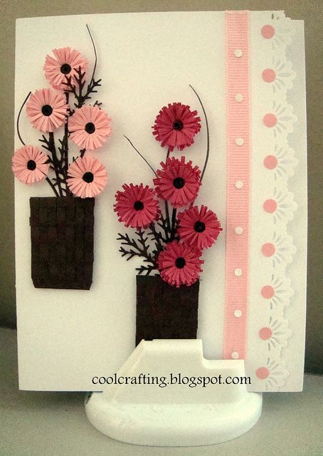 card with Flower pots and flowers by karthikasen...luv these two flower arrangements ...woven containers are clever too...