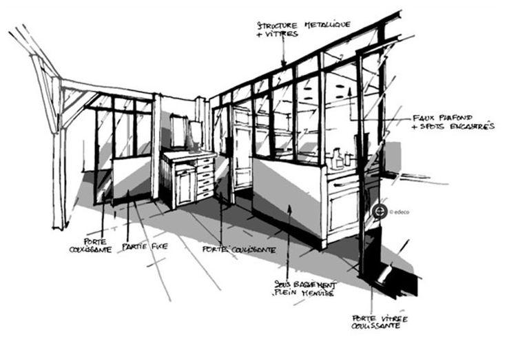 verrière noire dans cuisine. Croquis architecture intérieure - Dominique JEAN