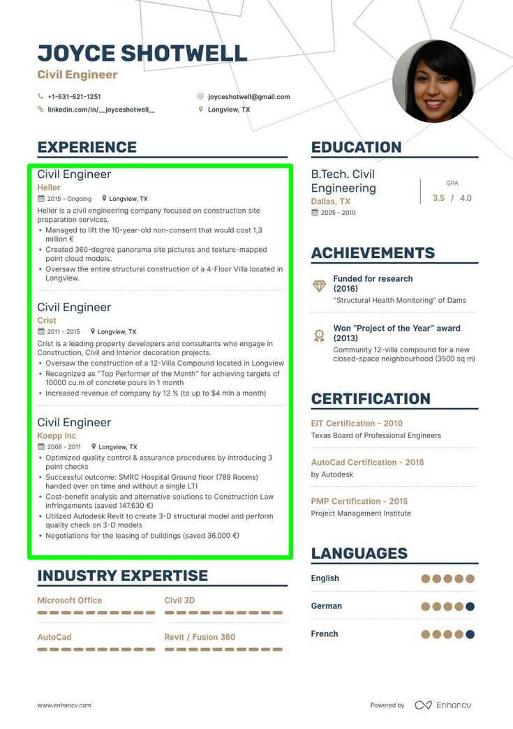 Example civil engineer resume