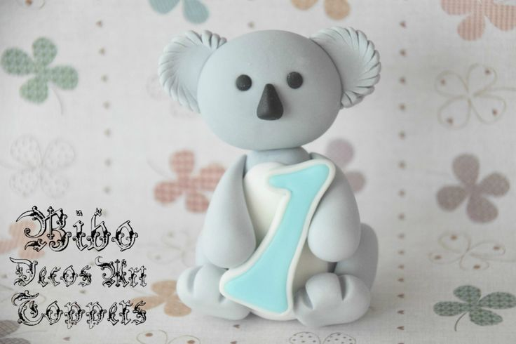 Edible 3D Koala Cake Decoration Fondant Topper , Birthday Cake Topper by BiboDecosArtToppers on Etsy