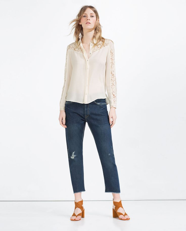 Image 1 of CONTRAST LACE BLOUSE from Zara